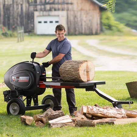 Man Cutting Woods With Log Splitter