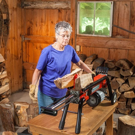 Woman With Self Lubricating Log Splitter