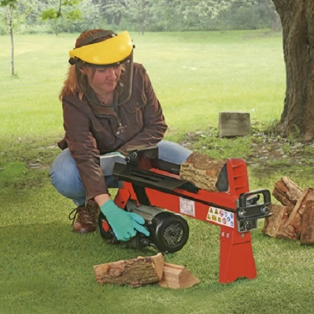 Woman Using Log Splitter And Wearing Safety Glasses